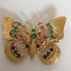 Vintage 14K Yellow Gold Butterfly Brooch